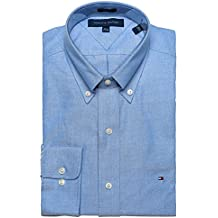 Tommy Hilfiger Men's Slim Fit Dress Shirt Long Sleeve Broadcloth with Flag Logo