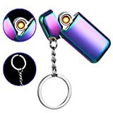 Mini USB Lighter Keychain Windproof Rechargeable Flameless Eelectronic Lighter (Purple)