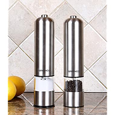 Greenco Automatic Electric Pepper Mill and Salt Grinder, Stainless Steel