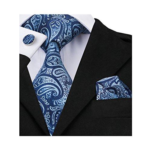 Barry.Wang Paisley Neckties Hanky Cufflinks Tie Set Woven Silk