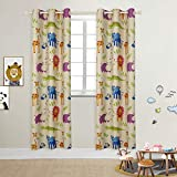 BGment Kids Blackout Curtains - Grommet Thermal Insulated Room Darkening Printed Animal Zoo Patterns Nursery and Kids Bedroom Curtains, Set of 2 Curtain Panels (42 x 84 Inch, Beige Zoo)
