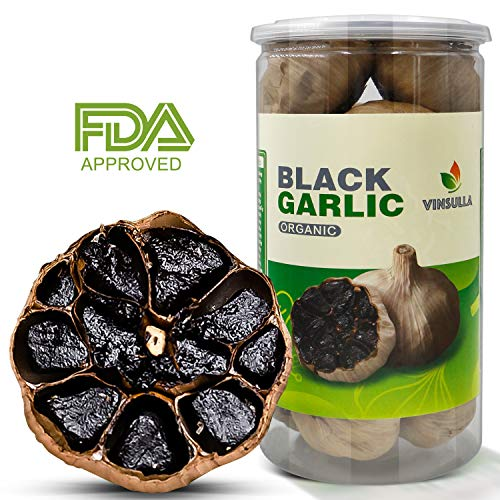 Vinsulla Organic Black Garlic 400 g Whole Black Garlic Aged for Full 90 Days Black Garlic Jar 0.88 Pounds Healthy Snack Ready to Eat or Sauce ()