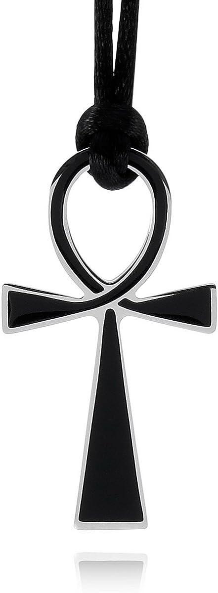 MunkiMix Acier Inoxydable Pendentif Collier Noir dargent Or Deux Ton Ankh Homme,Femme,90cm Corde