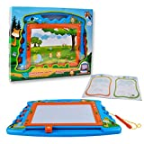 Drawing Board Magnetic Doodle Board - 18 Inch Writting Are Colorful Magna Doodle for Kids Learning with 4 Pattern Stampers ,Pen and a Booklet by Hanmun(Blue)