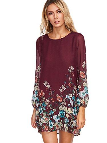 Floerns Women's Chiffon Floral Long Sleeve Shift Dress Burgundy S