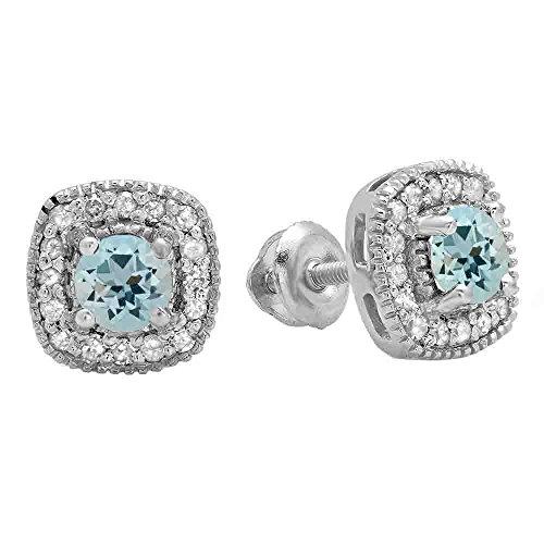 Gold Diamond Fancy Studs - 10K White Gold Round Cut Aquamarine & White Diamond Ladies Halo Stud Earrings
