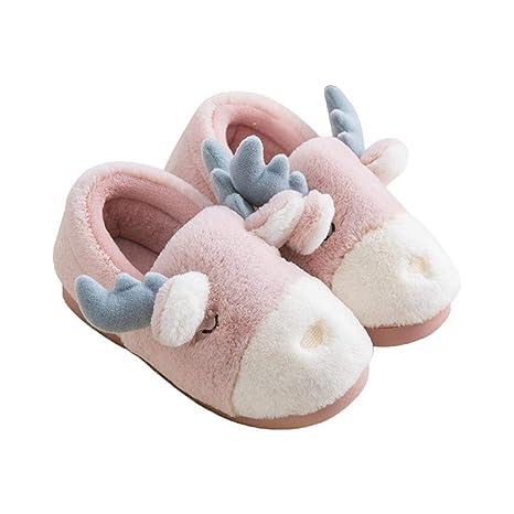 iBaste_top Zapatillas de Algodon Lindos Ciervos que Modelan Zapatillas de Algodón con Suela Antideslizante Vestidos de