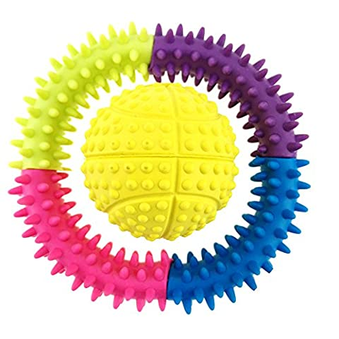 Aduck Pet Dog Ball Squeaky Toys for Boredom Interactive Play, Soft Natural Rubber [Nontoxic and Bite Resistant] 1 Colorful Ring Toys Included