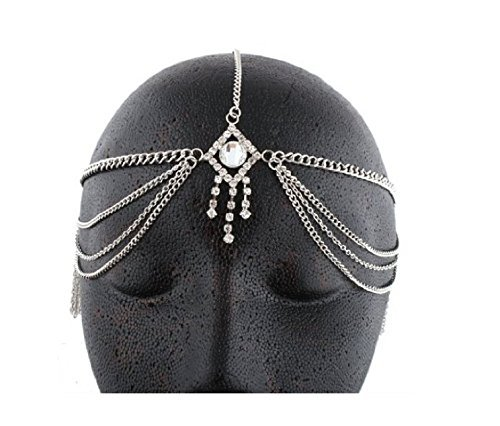 Silvertone Metal Head Chain with a Centered Iced Out Diamond and Dangling Stones (J-27)]()