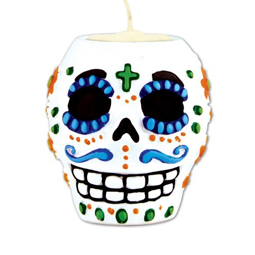 Day Of The Dead Male Tea Light Holder (tea light not included) Party Accessory  (1 count) (1/Pkg) ()