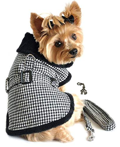 """DOGGIE DESIGN Charmed Winter Harness Coat with Matching Leash and Charm Set - Assorted Plaids - Available Dog Sizes XS Thru XXL (Large- Chest 19""""-21"""" Neck 14""""-17"""", Black/White Houndstooth)"""