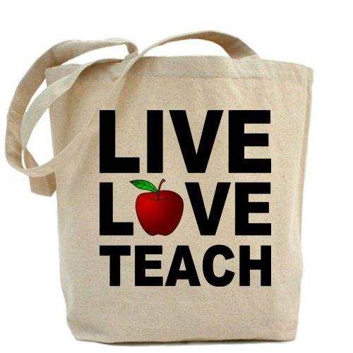 Cafepress–Live Love Teach–Borsa di tela naturale, tessuto in iuta