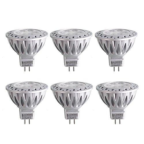 BAOMING 5W MR16 LED Spotlight Cool white 6000k 400/lm 12V AC/DC Gu5.3 Die-cast aluminum 38°Beam Angle 6-Pack