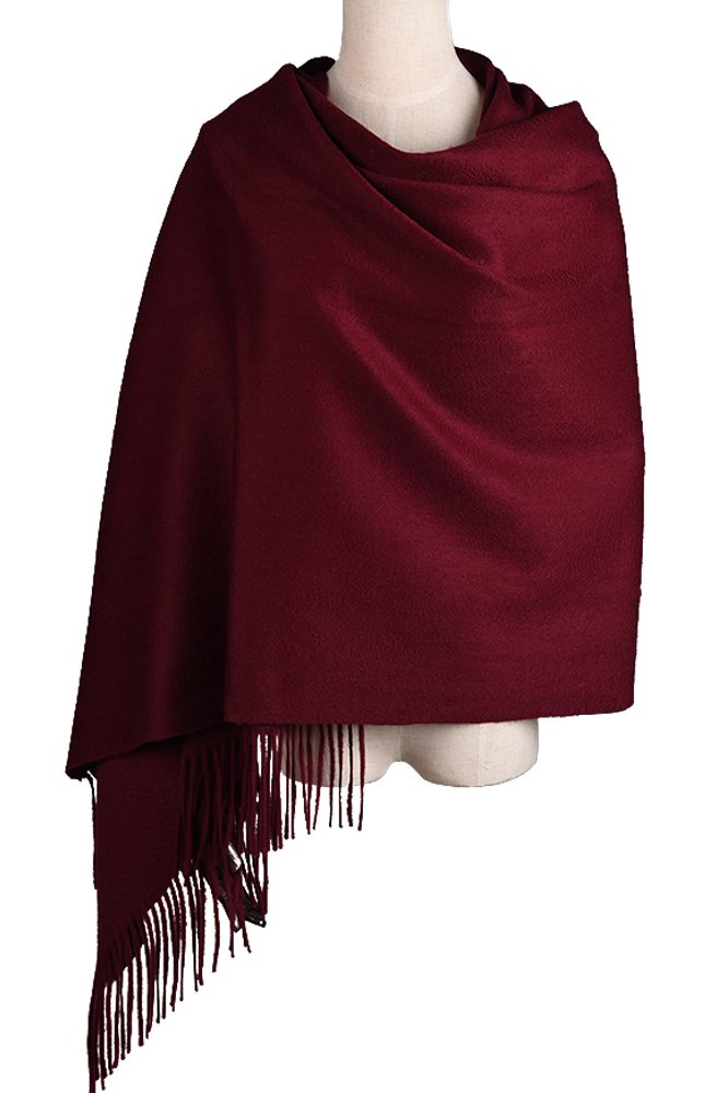 Women Soft Cashmere Wool Wraps Shawls Stole Scarf - Large Size 78''x 28'' (DarkRed)