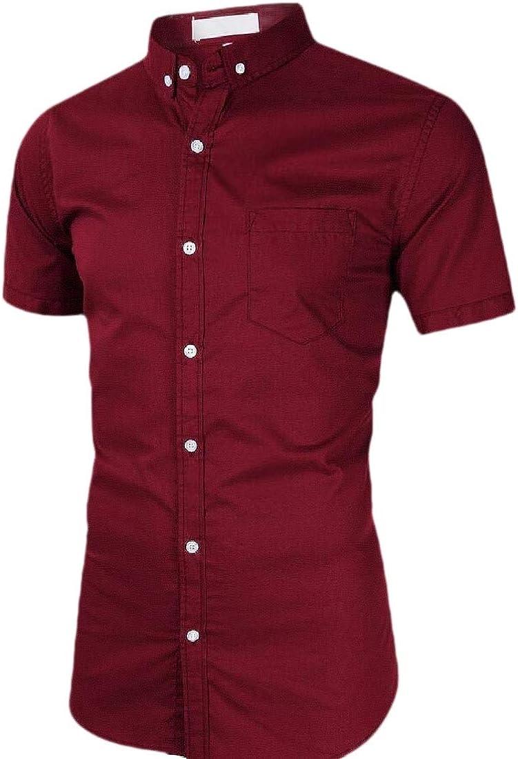 HTOOHTOOH Men Summer Short Sleeve Cotton Regular Button Down Shirts Tops Blouses