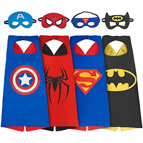 Asgift Comics Cartoon Hero Costumes with Masks and Capes for Kids (4Pcs in pack) ()