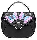 PIJUSHI Designer Shoulder Purses Women's Genuine Leather Bag CrossBody Bag Summer (8002 Black Butterfly)