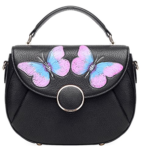 Pijushi Women's Designer Butterfly Top Handle Satchel Handbag Purse Shoulder Cross Body Bag 8002(one size, New Black Butterfly) by PIJUSHI