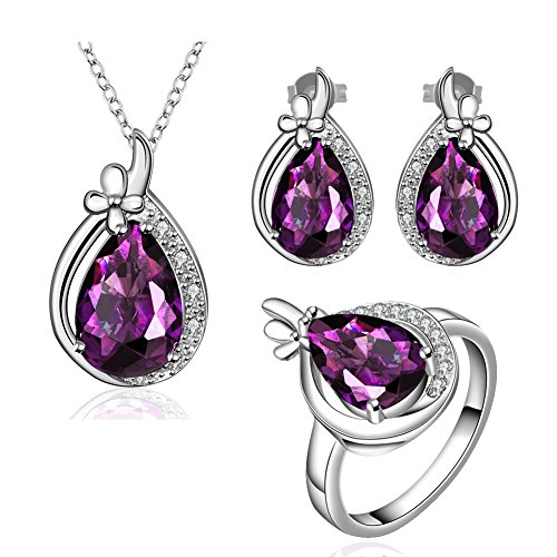 Amethyst Jewelry Sets Crystal Teardrop Pendant Necklace & Stud Earrings & Band Rings CZ Edge For Love Her