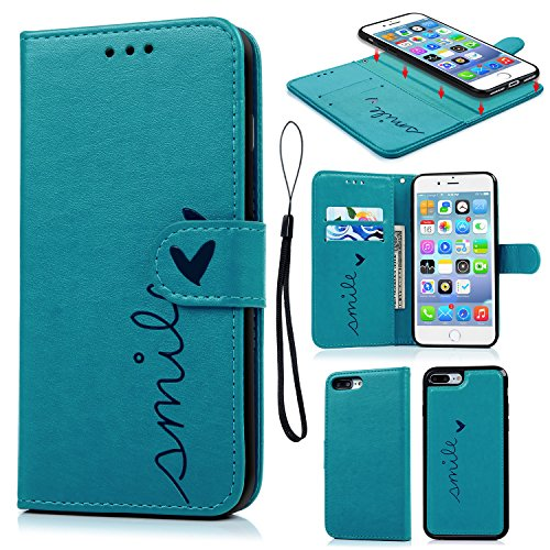 iPhone 8 Plus Case, iPhone 7 Plus Wallet Case Embossed Love PU Leather Case TPU Shock Bumper Magnetic Detachable Card Slots Hand Strap Cover for iPhone 7 Plus & iPhone 8 Plus Blue