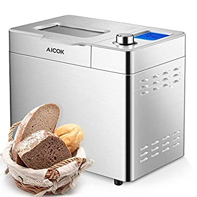 Aicok 2 Pound Bread Maker, 25 Programs Gluten Free Bread Machine with One-Knob-Operation, Large-Sized LED Display, Visual Menu, Removable Fruit and Nut Dispenser, Fully Stainless Steel