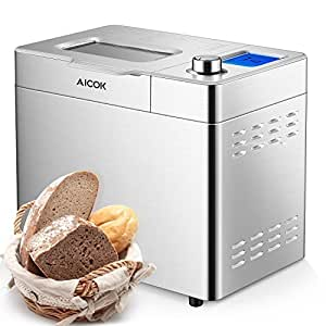 Amazon.com: Aicok Máquina de pan de acero inoxidable, 2LB 25 ...