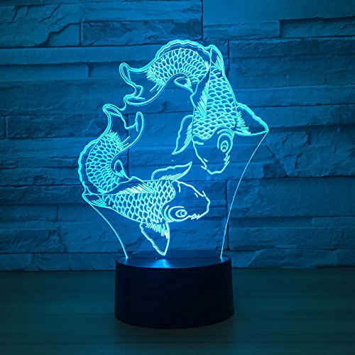 KIVVEE Double Fish Visual 3D Lamp Illusion 2D Night light Xmas Chirstmas Festival Birthday Valentines Day Lovers Gift Nursery Bedroom Desk Table Decor for Baby Boys Kids children]()