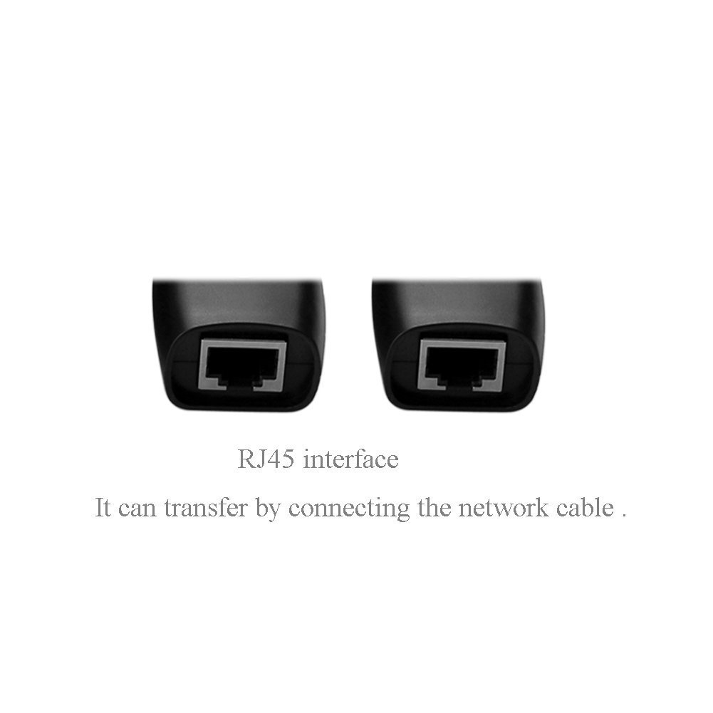 SIENOC 5 Packs 150Ft USB 2.0 to RJ45 Lan Extension Extender Adapter Over Cat5/Cat5e /Cat6 Cable Color Black