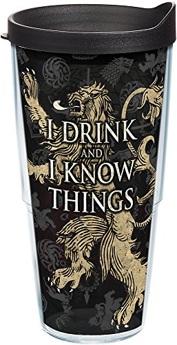 Tervis 1241845 HBO Game of Thrones - House Lannister Insulated Travel Tumbler with Wrap & Lid, 24 oz - Tritan, Clear