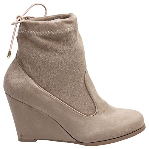 Feet First Fashion Anya Womens High Wedge Heel Tie Top Pull On Ankle Boots Khaki Tan Faux Suede Va0vQms