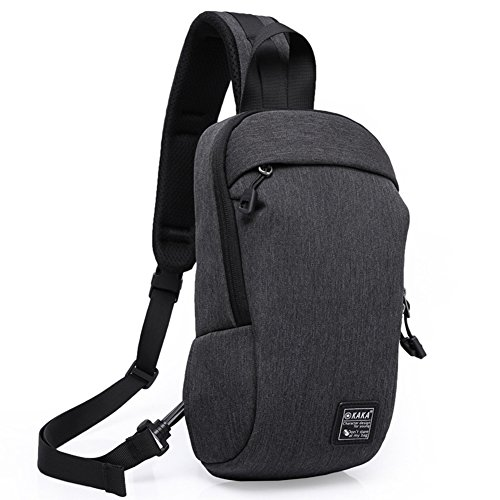 Unbalance BackPack, Anti-Theft Zipper Right Shoulder Buckle, for Outdoor Travel Nailon plástico Gris, by LC Prime Negro