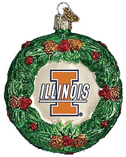 Illinois Illini Glass Fighting (NCAA Illinois Fighting Illini Glass Wreath Ornament)