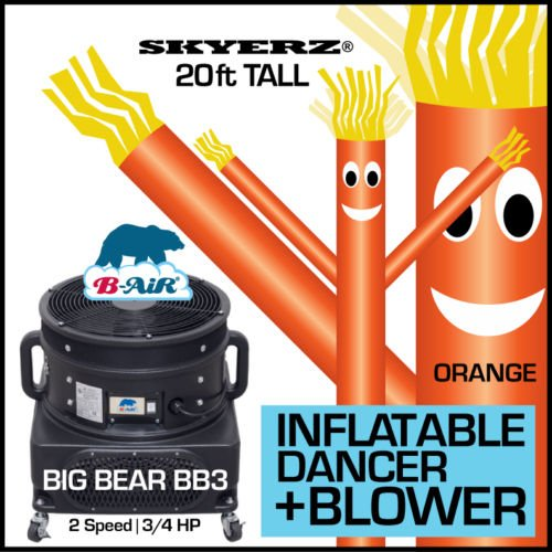 [20FT Bright Orange Skyer Wacky Waving Inflatable Fly Sky Guy Puppet Advertising Dancing Tube Includes 1HP SKYER] (Inflatable Wacky Waving Tube Man)