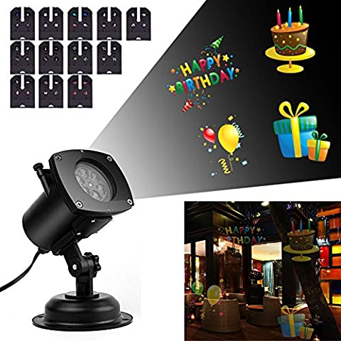 Blinngo Christmas Projector Lamp, 12 Replaceable Lens 12 Colorful Patterns Night Lamp Auto Moving Plug-in Fairy Light for Halloween Birthday Wedding Party Garden Wall Tree Holiday Decoration