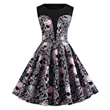 Gallity Vintage Women Dress Halloween Floral Print Bodycon Sleeveless Swing Sundress Winter Casual A Line Pleated Ball Gown Party Dress (2XL, Black)