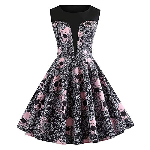 iDWZA Women Retro Halloween Pink Skull And White Floral Print Evening Prom Dress(XL,Black)