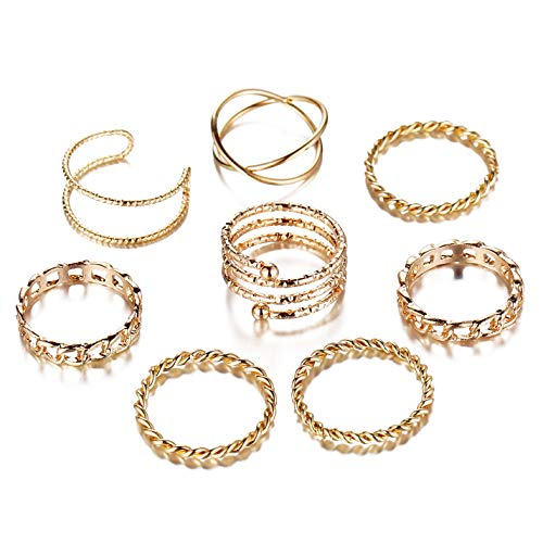 FINETOO 8 PCS Midi Ring Set Simple Knuckle Vintage Gold for Women/Girl Finger Stackable Rings Set DIY Jewelry Gifts