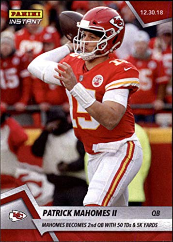 2018 Panini Instant NFL #240 Patrick Mahomes II Kansas City Chiefs Becomes 2nd QB with 50 TD Passes and 5K Yards Print Run Only 137 made Official Football Card from Panini Instant
