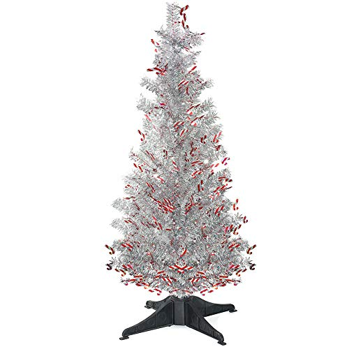 YuQi 5 Ft Pop UP Artificial Tinsel Trees Collapsible with Stand, Reusable for Christmas,Party,Next New Year,Wedding, Seasonal Home Décor & Party (Crutch) ()