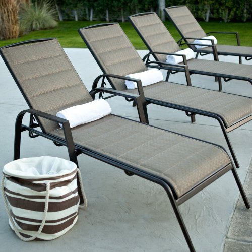 Coral Coast Coral Coast Del Rey Padded Sling Chaise Lounges - Set of 2, Bronze, Aluminum, 72.75L x 27W x 39.75H inches