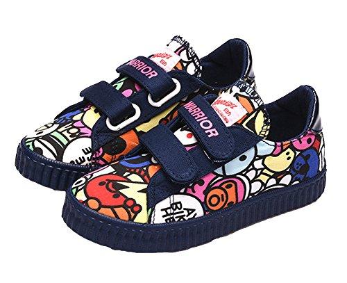 VECJUNIA Jungen Mädchen Graffiti Karikatur Klettverschluss Segeltuch Schuhe Komfort Sport Turnschuhe Unisex Sneakers Blau