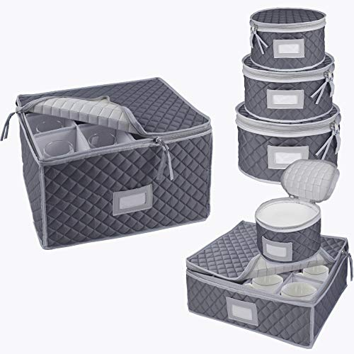 Dinnerware Storage Best Protection for Storing or Transporting Fine China Dishes, Coffee Tea Cups, Wine Glasses Includes 48 Felt Protectors for Plates,Set of 6pcs (Gray)