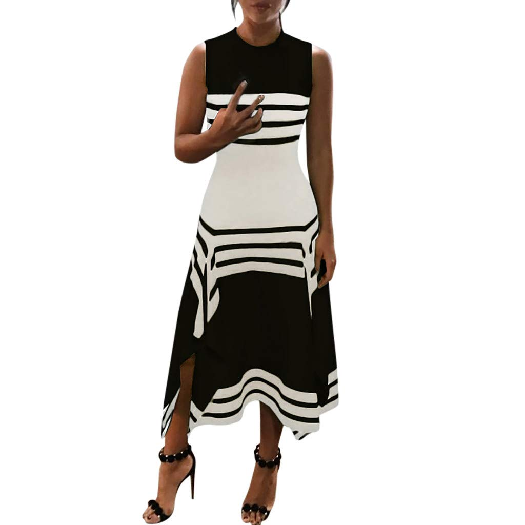 3dc3d832fb105 Womens Vintage Stripe Maxi Dress,Summer Sleeveless Round Neck Split Evening  Party Long Dresses