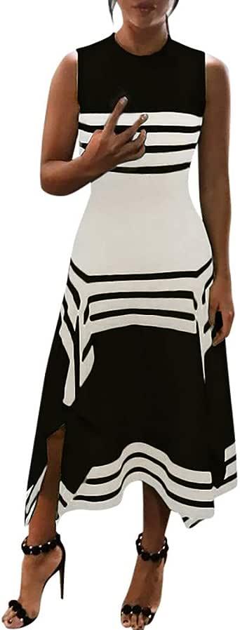 Pongfunsy Women's Dresses Summer Short Sleeve Scoop Neck Striped Dress Loose Beach Long Maxi Dress Casual Sale Sundress Black