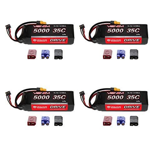 (Venom 35C 3S 5000mAh 11.1V LiPo Battery with Universal Plug (EC3/Deans/Traxxas/Tamiya) x4 Packs)