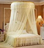 Mosquito Net Bed Canopy - Lace Round Hoop Bed Canopy Netting King Size,Yellow