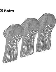 3x Pairs Non Slip Yoga Pilates Socks for Martial Arts Fitness Dance Barre Anti-Slip/Non-slip, Full Toe Ankle Grip Socks Size 6-10