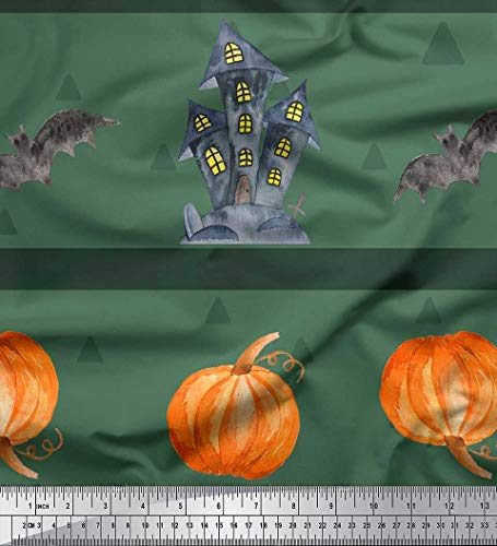 Soimoi Green Georgette Viscose Fabric Pumpkin & Haunted House Halloween Printed Craft Fabric by The Yard 42 Inch Wide -