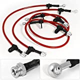 For Acura Integra DB DA Front Rear Red Stainless Steel Braided Oil Brake Line Cable Hose Black End Cap