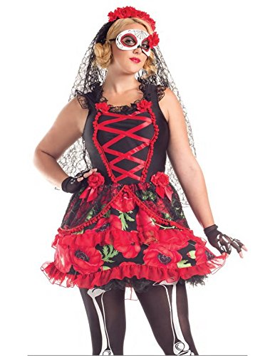 Day of the Dead Senorita Adult Costume - Plus Size 1X